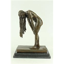 Nude Girl on Marble Plinth Art Deco Bronze Statue