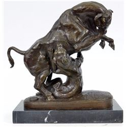Modern Art Confrontation between Bull and Dog Bronze Sculpture