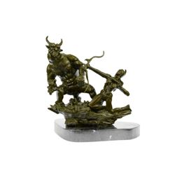 Beautiful Woman Warrior Fighting Demon Bronze Sculpture
