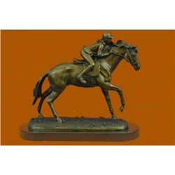 Race Horse Bronze Sculpture on Marble Base Statue