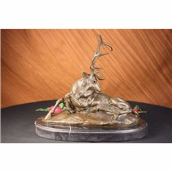 Elk-Buck-Stag trophy Bronze Statue on Marble Base Sculpture