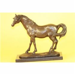 Fine Stallion Horse on Marble Base Bronze Sculpture
