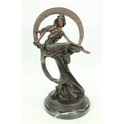 Dream Goddess with Bliss Ring Bronze on Marble Base Sculpture