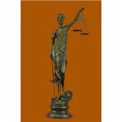 "39"" Hot Cast Blind Justice Bronze Sculpture on Marble base Figure"