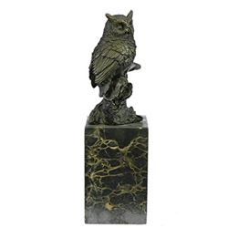 Bird Owl Bronze Sculpture on Marble Base Statue