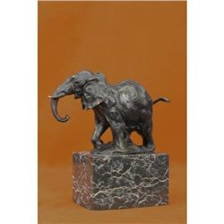 Elephant Bronze Sculpture on Marble Base Statue