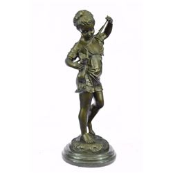 Girl with Cat Laporte Bronze Statue on marble base