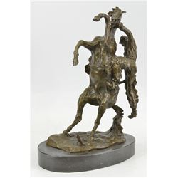 Country Western Cowboy Horse Ranch Bronze Sculpture on Marble Base Statue