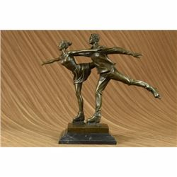 Ice skating Bronze Sculpture on Marble base Statue