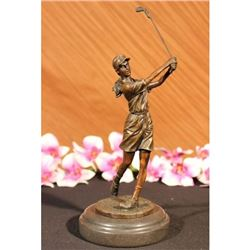 Golfing Trophy Bronze Sculpture on Marble Base Statue
