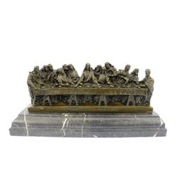 Religeous THE LAST SUPPER Bronze Sculpture on Marble Base Figurine