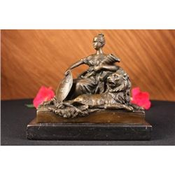 Opulent Bronze Statue of Royal Woman Figurine
