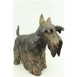 English Terrier Dog Bronze Sculpture