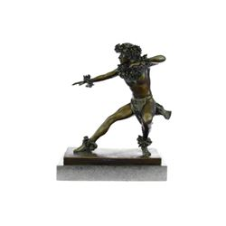 Erotic Sensual Male Nude Bronze Sculpture on Marble base Statue