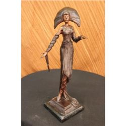 Girl Byzantine Bronze Sculpture on Marble Base Figurine