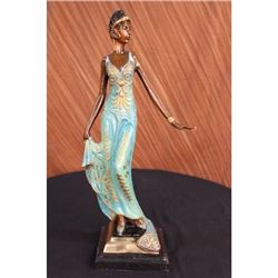 Portrait Bust Woman Bronze Figurine on Marble Base Statue