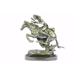 Silver Plated Indian Chief Riding Horse Bronze Sculpture