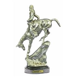 Silver Plated Mountain Man Bronze Sculpture