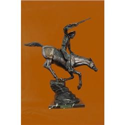 Cowboy With Gun Bronze Sculpture on Marble Base Statue