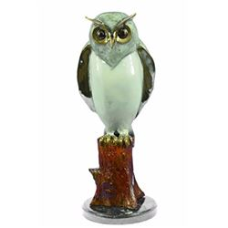 Screech Owl Bird Bronze Sculpture