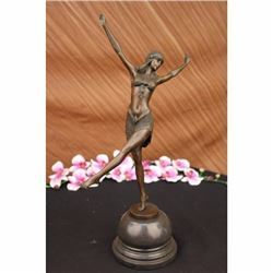 Exotic dancer Bronze figurine on marble base Sculpture