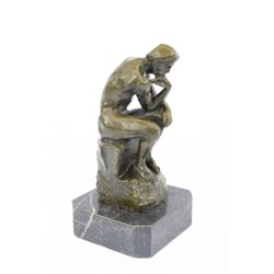 Thinker Symbol of Philosophy Bronze Sculpture on Marble Base Figure