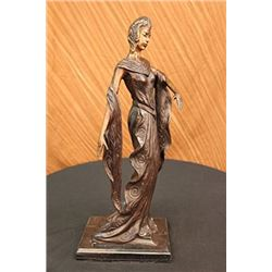 Theater Jazz Singer Actress Dancer Bronze Sculpture on Marble Base Statue