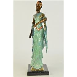 Graceful Egyptian Dancer Model Bronze Sculpture on Marble Base Figurine