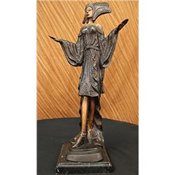 Dancer Model Bronze Sculpture on Marble Base Figurine