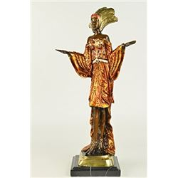 Indian Princess Bronze Sculpture on Marble Base Figurine