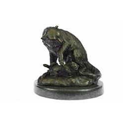 Animal Edition Lion With Cub Bronze Statue