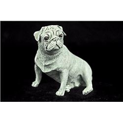White Patina Bronze Miniature Pug Dog Bronze Sculpture