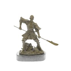 Samurai Warrior Bronze Sculpture on marble base