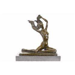 Girl Bronze Sculpture on marble base Figure