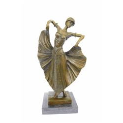 Flair Dancer Bronze Sculpture on Marble base Figurine