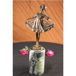 Young Girl Mid Dance Pose Bronze Figurine