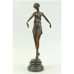 Roman Girl Bronze Sculpture on marble basde Figurine
