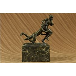Two Muscular Football Players Rugby NFL Trophy Bronze Sculpture