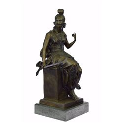 Female Greek Warrior Bronze Sculpture on Marble base Statue