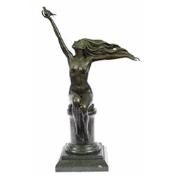 Nude Lady Free Bird Bronze Marble Sculpture Figurine Statue Figure