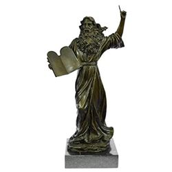 Moses Bust Jewish Religous Bronze Figurine on Marble base Statue