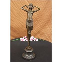 Exotic Dancer Bronze Statue on Marble Base Sculpture