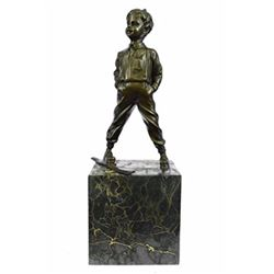 Ski Player Bronze Statue on marble base Sculpture