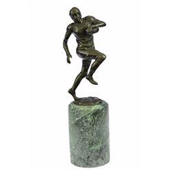 Football Player Bronze Sculpture on Marble base Statue
