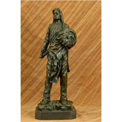 Indian Chief With Shield Gun Full Headdress Native American Bronze Statue