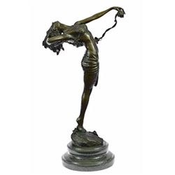 Nude Beauty Stretching Bronze Sculpture