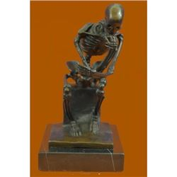 Mini Skeleton Bronze Sculpture on Marble base Statue