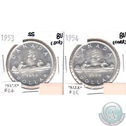 1953 Canada SS Dollar Brilliant Uncirculated (MS-62 to MS-64) Condition (scratched) & 1954 Canada Do