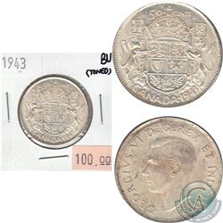 1943 Canada 50-cents Brilliant Uncirculated (MS-62 to MS-64) (toned)