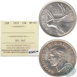 1937 Canada 25-cent ICCS Certified MS-65